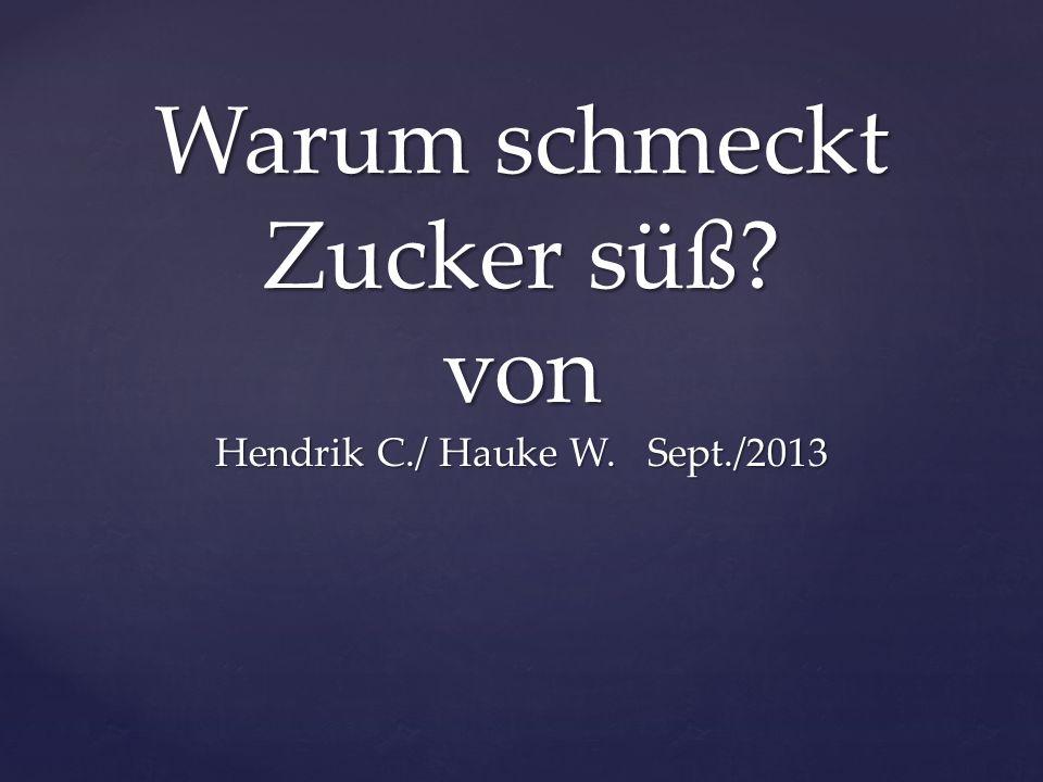Warum schmeckt Zucker süß? von Hendrik C./ Hauke W. Sept./2013
