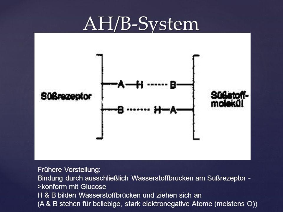 AH/B-System http://www.youtube.com/watch?v=VTtu8w ObUdI Frühere Vorstellung: Bindung durch ausschließlich Wasserstoffbrücken am Süßrezeptor - >konform mit Glucose H & B bilden Wasserstoffbrücken und ziehen sich an (A & B stehen für beliebige, stark elektronegative Atome (meistens O))
