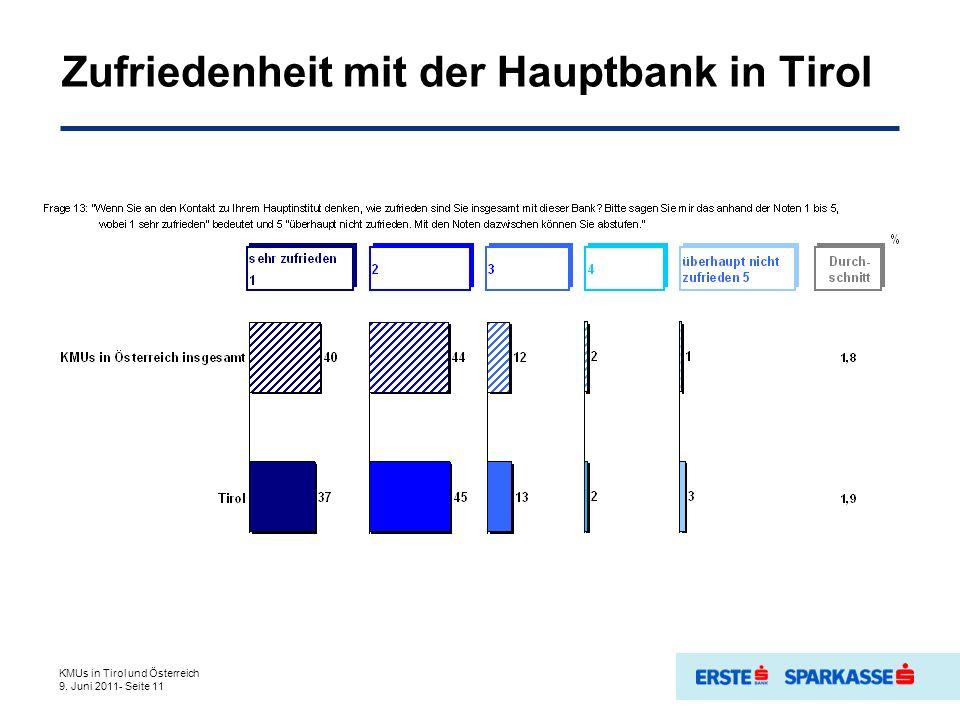 Zufriedenheit mit der Hauptbank in Tirol KMUs in Tirol und Österreich 9. Juni 2011- Seite 11
