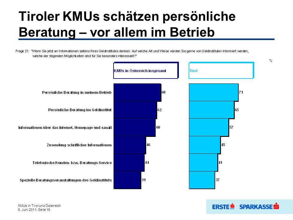 Tiroler KMUs schätzen persönliche Beratung – vor allem im Betrieb KMUs in Tirol und Österreich 9.