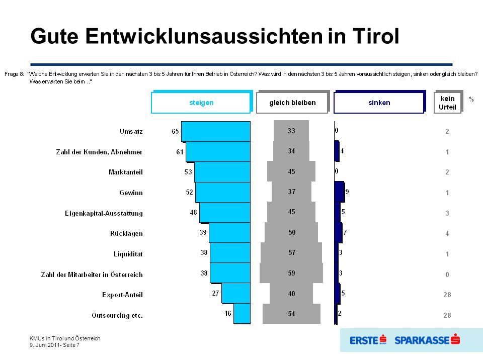 Gute Entwicklunsaussichten in Tirol KMUs in Tirol und Österreich 9. Juni 2011- Seite 7