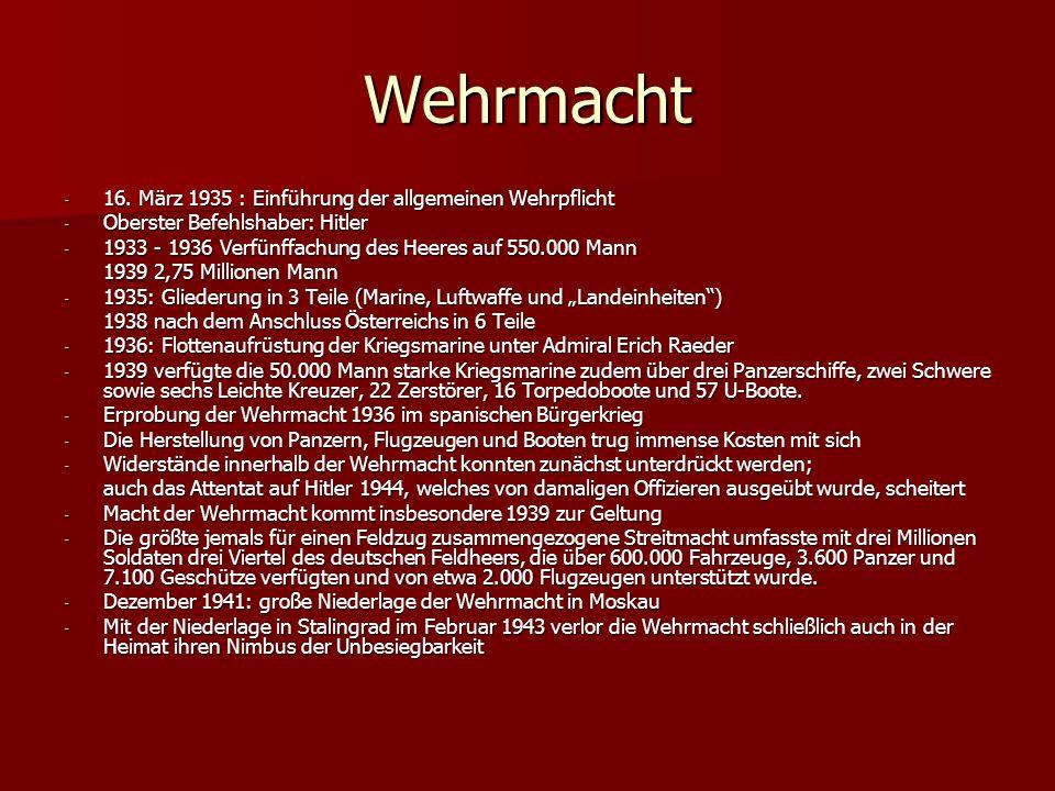 Wehrmacht - 16. März 1935 : Einführung der allgemeinen Wehrpflicht - Oberster Befehlshaber: Hitler - 1933 - 1936 Verfünffachung des Heeres auf 550.000