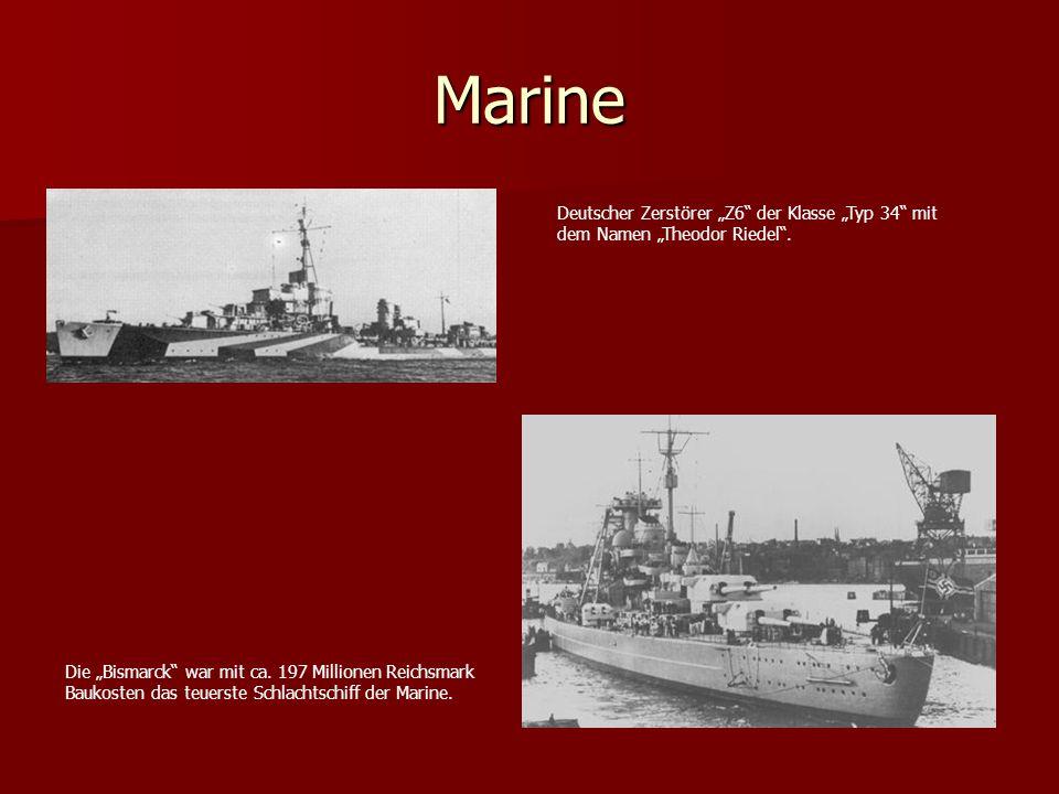 Marine Deutscher Zerstörer Z6 der Klasse Typ 34 mit dem Namen Theodor Riedel. Die Bismarck war mit ca. 197 Millionen Reichsmark Baukosten das teuerste