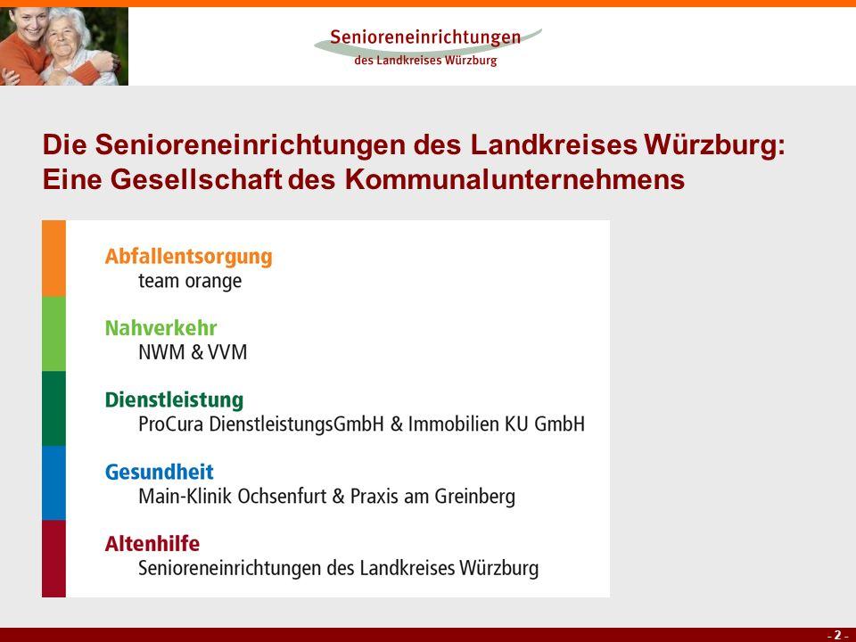 - 2 - Die Senioreneinrichtungen des Landkreises Würzburg: Eine Gesellschaft des Kommunalunternehmens