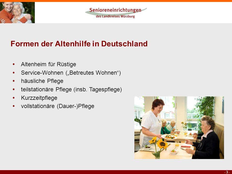 - 3 - Formen der Altenhilfe in Deutschland Altenheim für Rüstige Service-Wohnen (Betreutes Wohnen) häusliche Pflege teilstationäre Pflege (insb. Tages