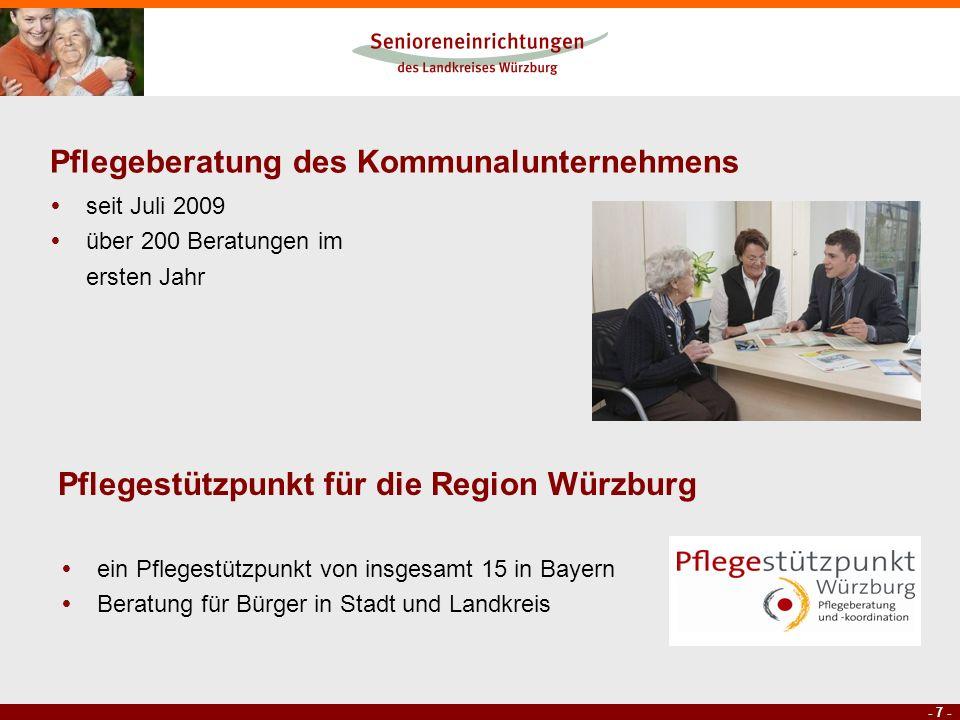 - 7 - Pflegeberatung des Kommunalunternehmens seit Juli 2009 über 200 Beratungen im ersten Jahr Pflegestützpunkt für die Region Würzburg ein Pflegestü