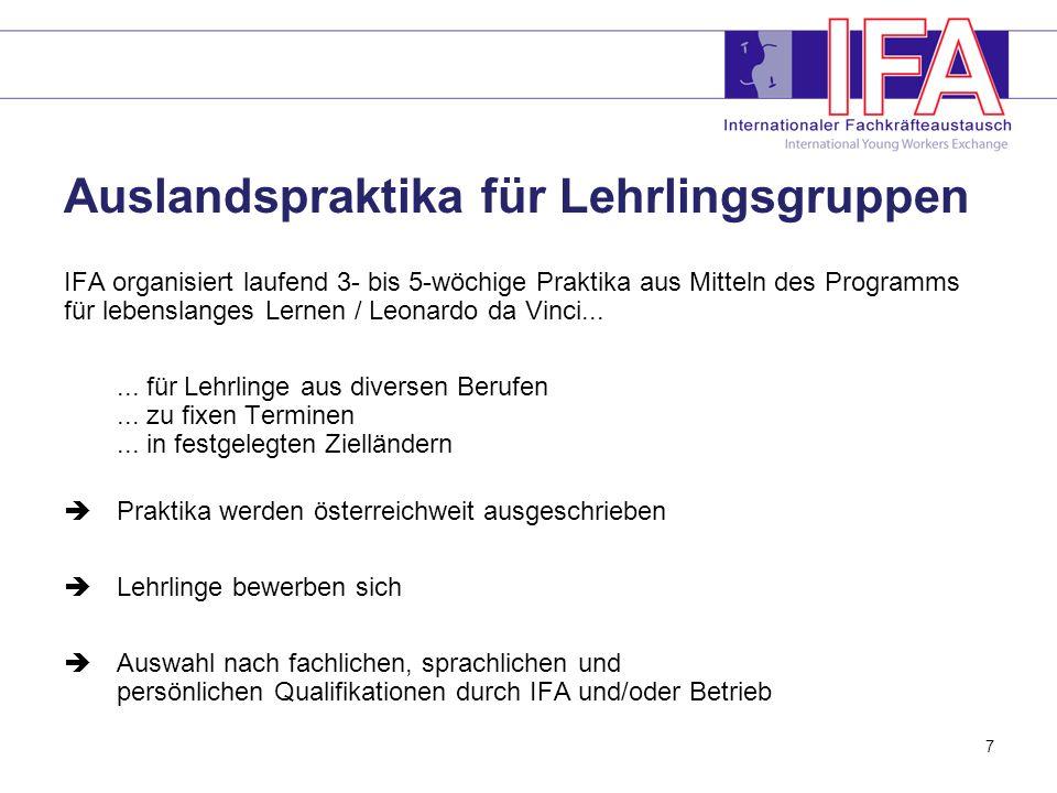 7 Auslandspraktika für Lehrlingsgruppen IFA organisiert laufend 3- bis 5-wöchige Praktika aus Mitteln des Programms für lebenslanges Lernen / Leonardo da Vinci......