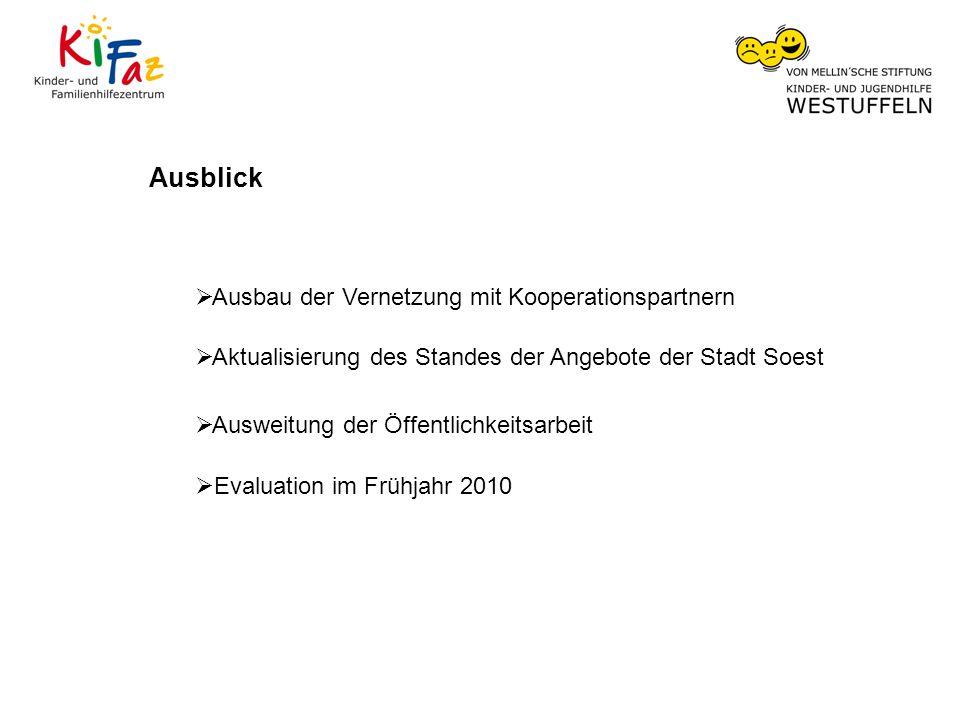 Ausblick Ausbau der Vernetzung mit Kooperationspartnern Aktualisierung des Standes der Angebote der Stadt Soest Ausweitung der Öffentlichkeitsarbeit Evaluation im Frühjahr 2010