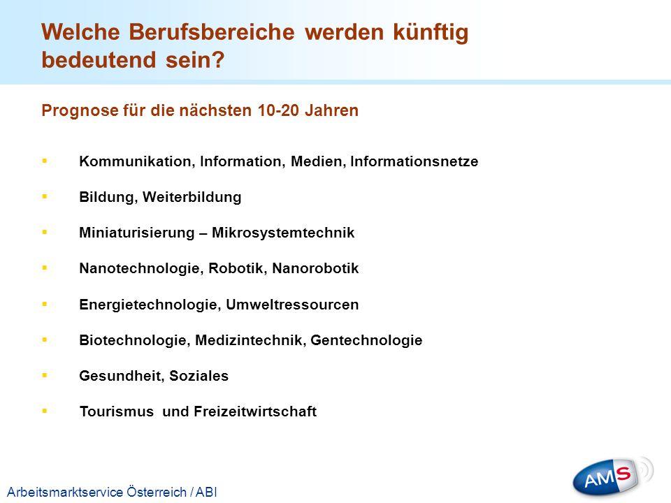 Titelmasterformat durch Klicken bearbeiten Arbeitsmarktservice Österreich / ABI Welche Berufsbereiche werden künftig bedeutend sein? Prognose für die