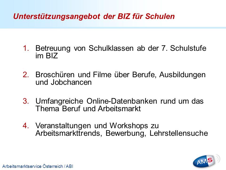 Titelmasterformat durch Klicken bearbeiten Arbeitsmarktservice Österreich / ABI 1.Betreuung von Schulklassen ab der 7. Schulstufe im BIZ 2.Broschüren