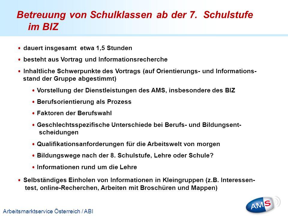 Titelmasterformat durch Klicken bearbeiten Arbeitsmarktservice Österreich / ABI dauert insgesamt etwa 1,5 Stunden besteht aus Vortrag und Informations