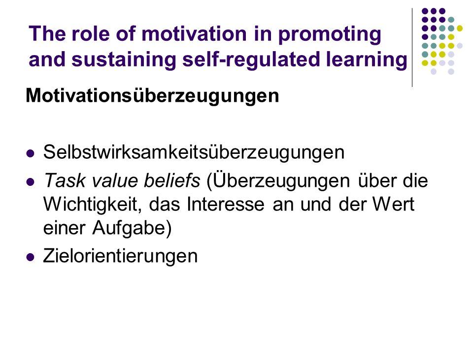 The role of motivation in promoting and sustaining self-regulated learning Motivationsüberzeugungen Selbstwirksamkeitsüberzeugungen Task value beliefs