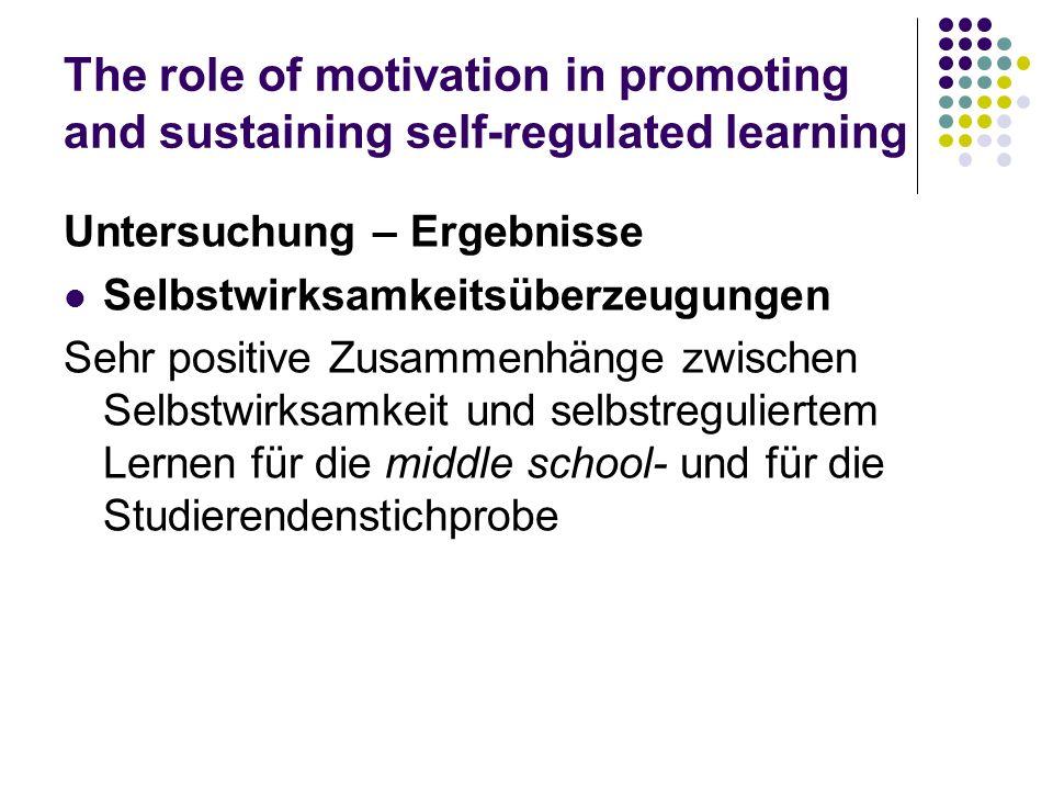 The role of motivation in promoting and sustaining self-regulated learning Untersuchung – Ergebnisse Selbstwirksamkeitsüberzeugungen Sehr positive Zus
