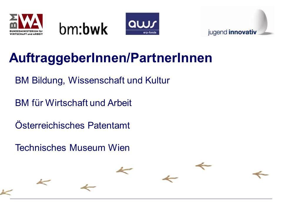 BM Bildung, Wissenschaft und Kultur BM für Wirtschaft und Arbeit Österreichisches Patentamt Technisches Museum Wien AuftraggeberInnen/PartnerInnen