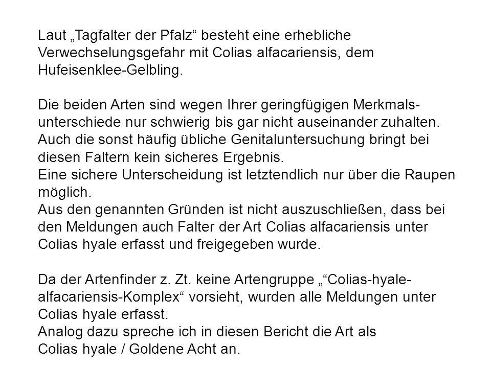 Literatur SCHULTE, T.,ELLER, O., NIEHUIS, M.& E. RENNWALD (2007): Die Tagfalter der Pfalz, Band 1.