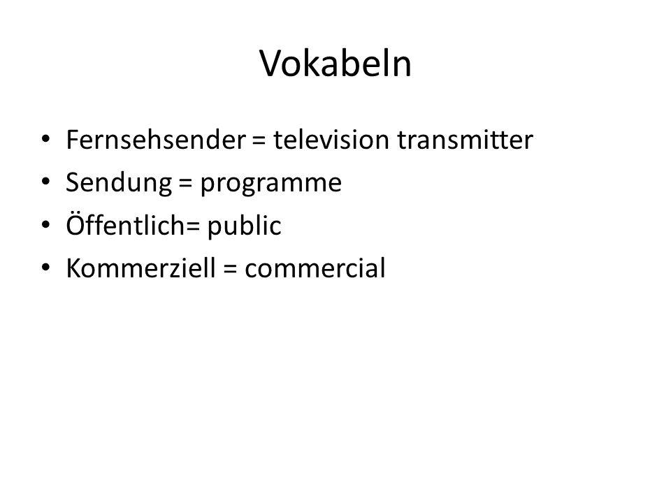 Öffentlich-rechtliche Fernsehsender ARD (das Erste) ZDF (das Zweite) Bayerisches Fernsehen (das Dritte) gerätegebundene Gebührenpflicht Müssen inhaltlich umfassendes Programm anbieten Müssen insgesamt eine breite Meinungsvielfalt gewährleisten Finanzierung: Rundfunk´gebühren und Werbeeinnahmen (duale Finanzierung)
