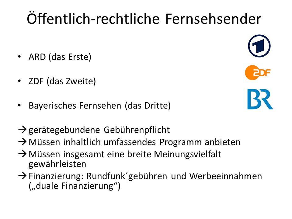 Öffentlich-rechtliche Fernsehsender ARD (das Erste) ZDF (das Zweite) Bayerisches Fernsehen (das Dritte) gerätegebundene Gebührenpflicht Müssen inhaltl