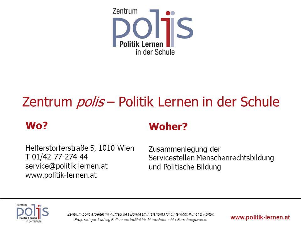 Zentrum polis arbeitet im Auftrag des Bundesministeriums für Unterricht, Kunst & Kultur.