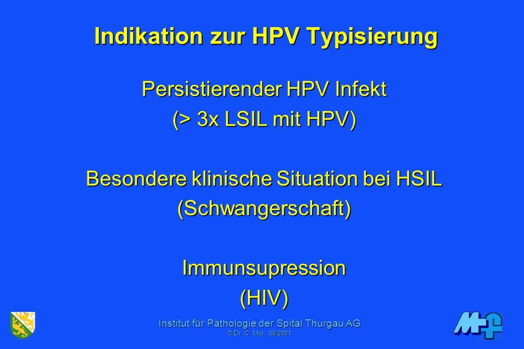 Institut für Pathologie der Spital Thurgau AG © Dr. C. Mol, 06/2001 Klinische Kontrollen III Wdh./Sofort IIwIIIIV0/ASCUS 3 Mt. 6 Mt. 1 Jahr 2 Jahre 3