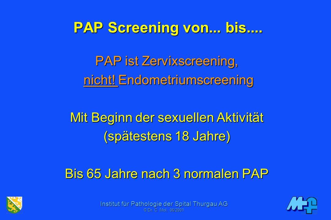 Institut für Pathologie der Spital Thurgau AG © Dr. C. Mol, 06/2001 Indikation zur HPV Typisierung Persistierender HPV Infekt (> 3x LSIL mit HPV) Beso