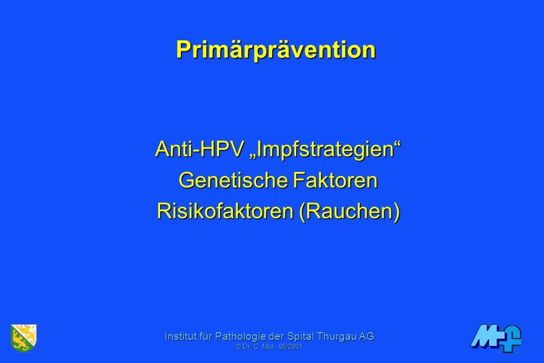 Institut für Pathologie der Spital Thurgau AG © Dr. C. Mol, 06/2001 Faustregel 1000 Paps 100 HPV 10 LSIL 1 HSIL