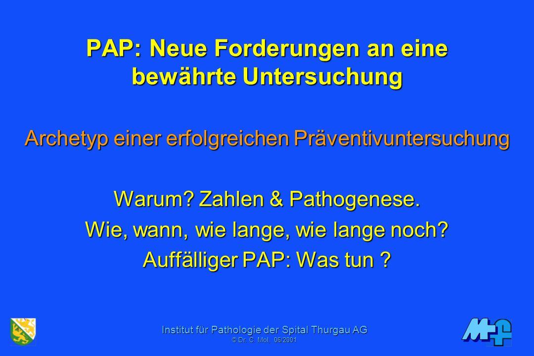 Institut für Pathologie der Spital Thurgau AG © Dr. C. Mol, 06/2001 PAP heute Vom Ausstrich zum Monolayer Sampling Mikroskop: Verfeinerte Kriterien Ei