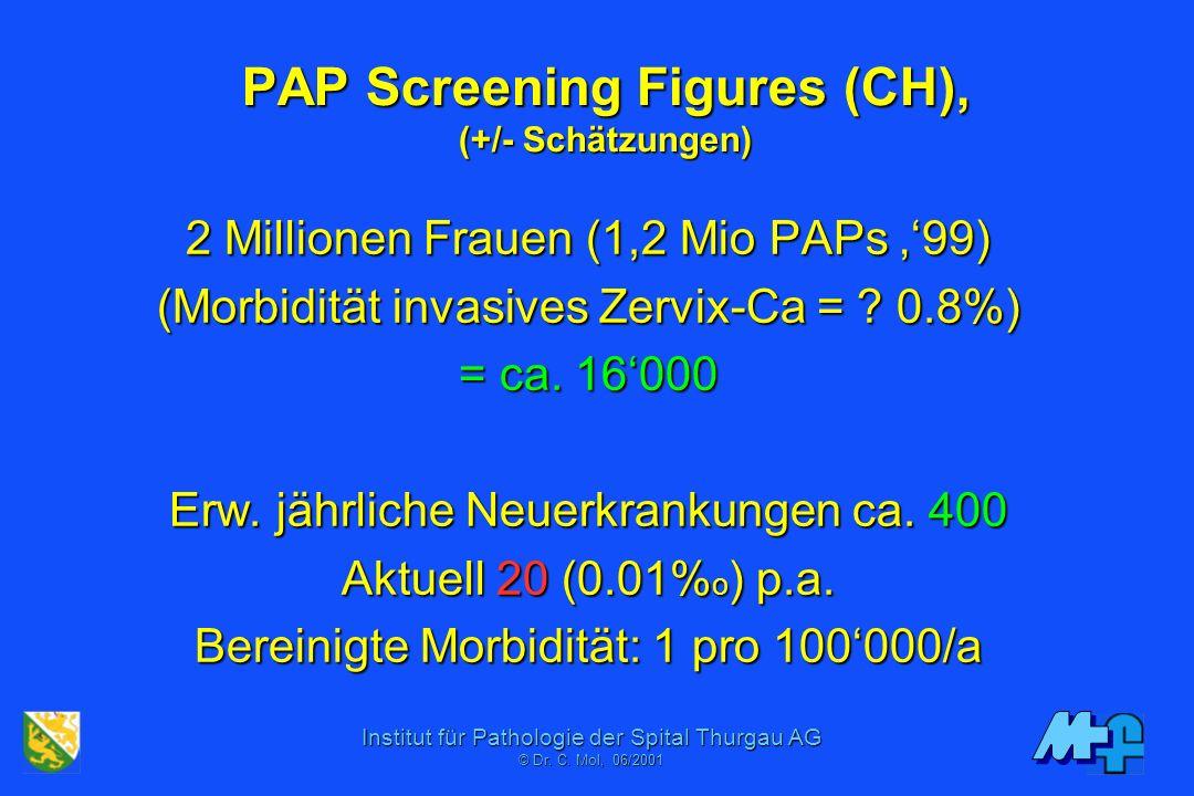 Institut für Pathologie der Spital Thurgau AG © Dr. C. Mol, 06/2001 PAP Screening Figures (USA) 87 Millionen Frauen (Morbidität invasives Zervix-Ca =