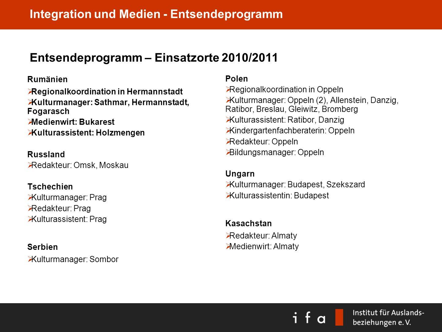Integration und Medien - Entsendeprogramm Entsendeprogramm – Einsatzorte 2010/2011 Rumänien Regionalkoordination in Hermannstadt Kulturmanager: Sathma