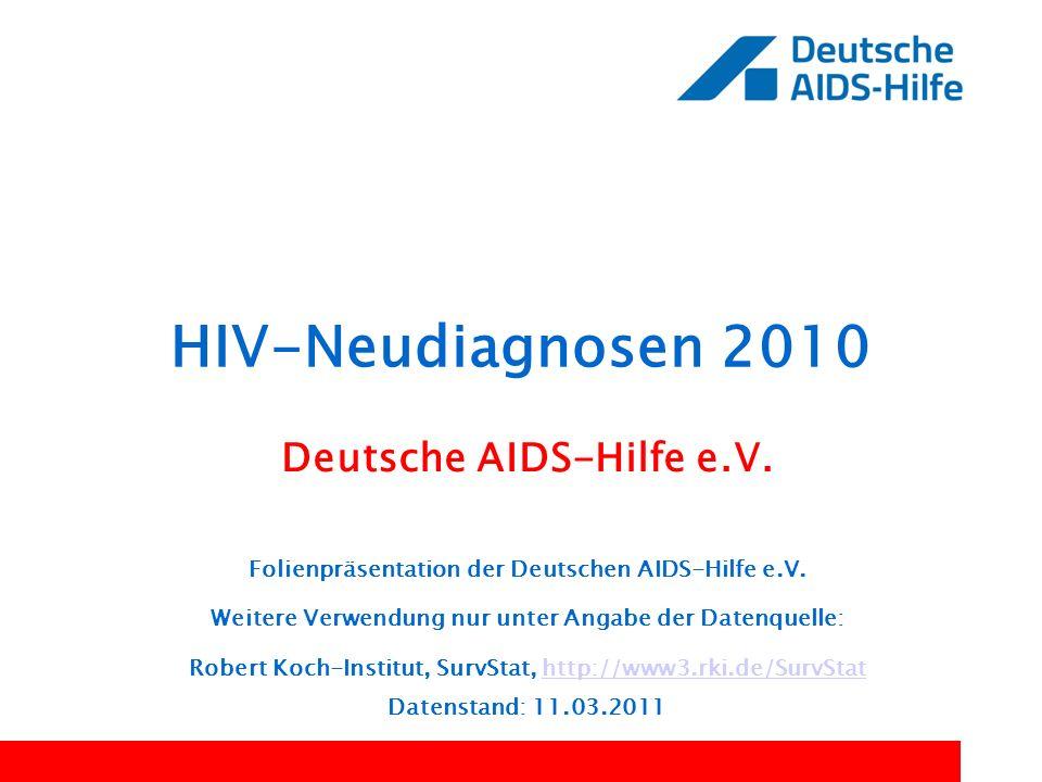 HIV-Neudiagnosen 2010 Deutsche AIDS-Hilfe e.V. Folienpräsentation der Deutschen AIDS-Hilfe e.V. Weitere Verwendung nur unter Angabe der Datenquelle: R