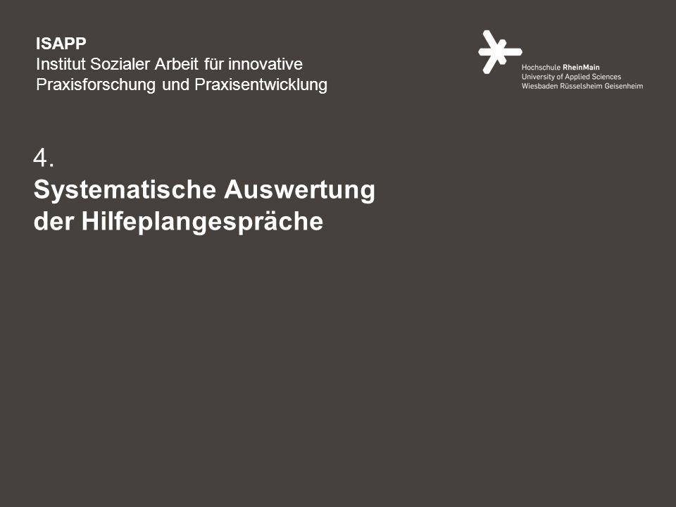 11 4. Systematische Auswertung der Hilfeplangespräche ISAPP Institut Sozialer Arbeit für innovative Praxisforschung und Praxisentwicklung