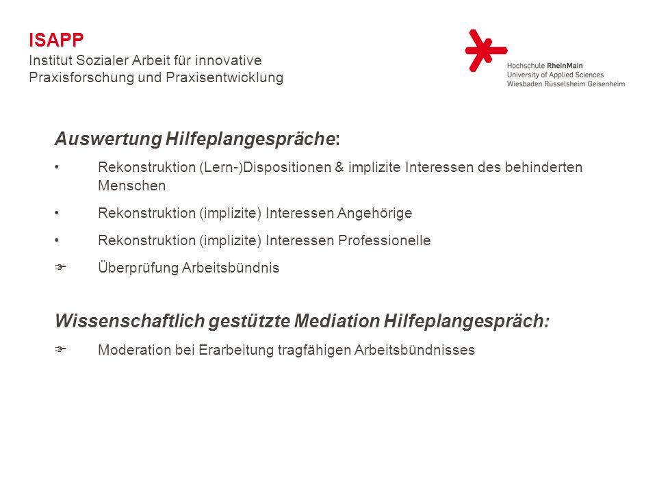 Auswertung Hilfeplangespräche: Rekonstruktion (Lern-)Dispositionen & implizite Interessen des behinderten Menschen Rekonstruktion (implizite) Interess