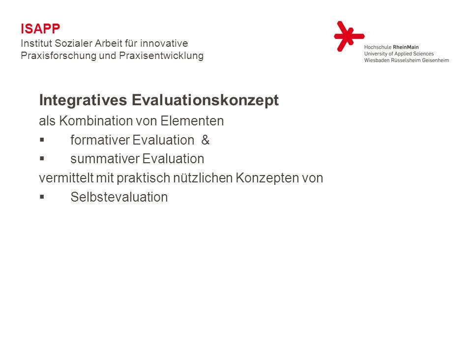 Integratives Evaluationskonzept als Kombination von Elementen formativer Evaluation & summativer Evaluation vermittelt mit praktisch nützlichen Konzepten von Selbstevaluation ISAPP Institut Sozialer Arbeit für innovative Praxisforschung und Praxisentwicklung
