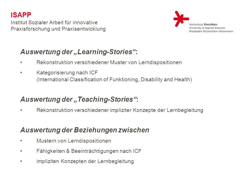 Auswertung der Learning-Stories: Rekonstruktion verschiedener Muster von Lerndispositionen Kategorisierung nach ICF (International Classification of F