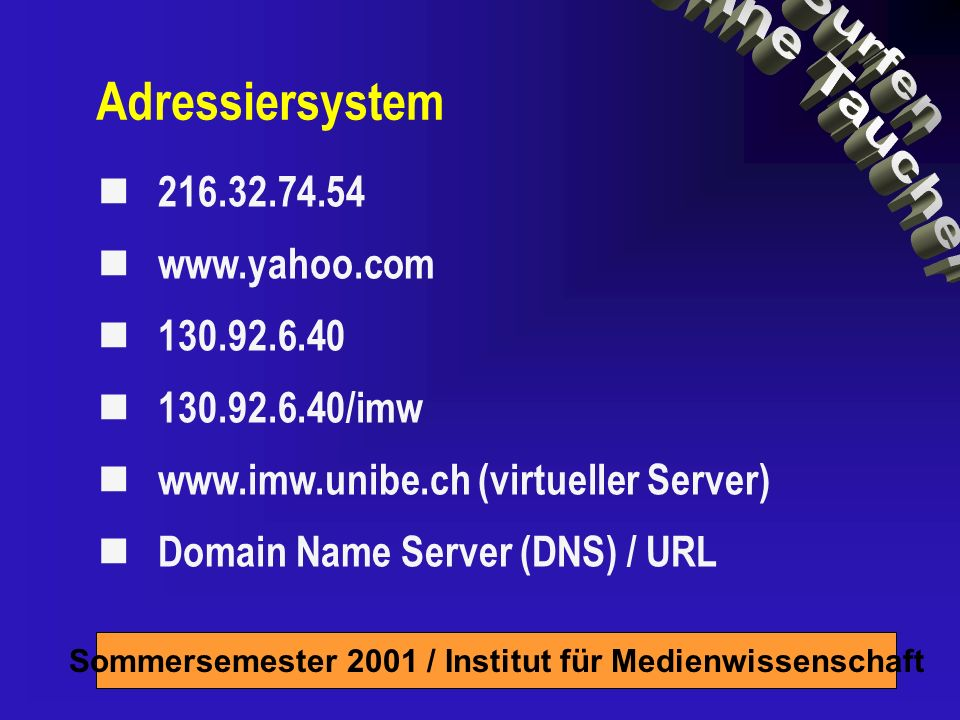 Sommersemester 2001 / Institut für Medienwissenschaft Adressiersystem /imw   (virtueller Server) Domain Name Server (DNS) / URL