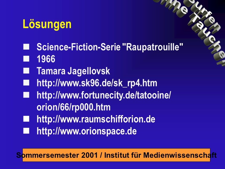 Lösungen Science-Fiction-Serie