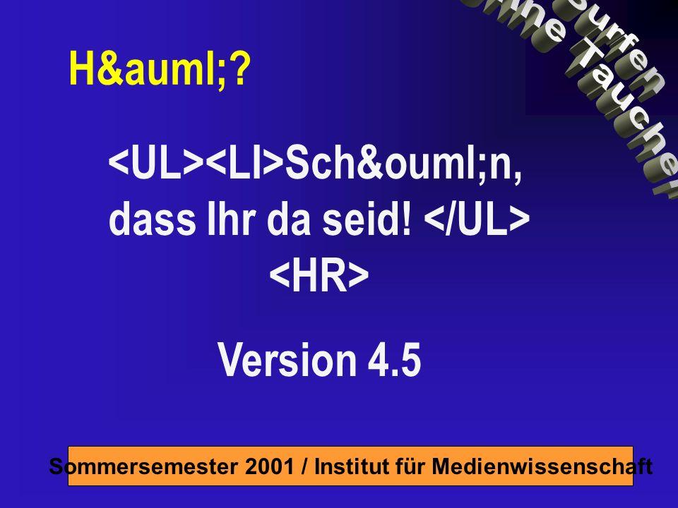 Sommersemester 2001 / Institut für Medienwissenschaft Programm 2 Termine DO: Grundlagen des Webdesign Tips und Tricks, auch aufgrund Eurer Fragen und Anergungen Theorie rund ums Internet Pause ca.