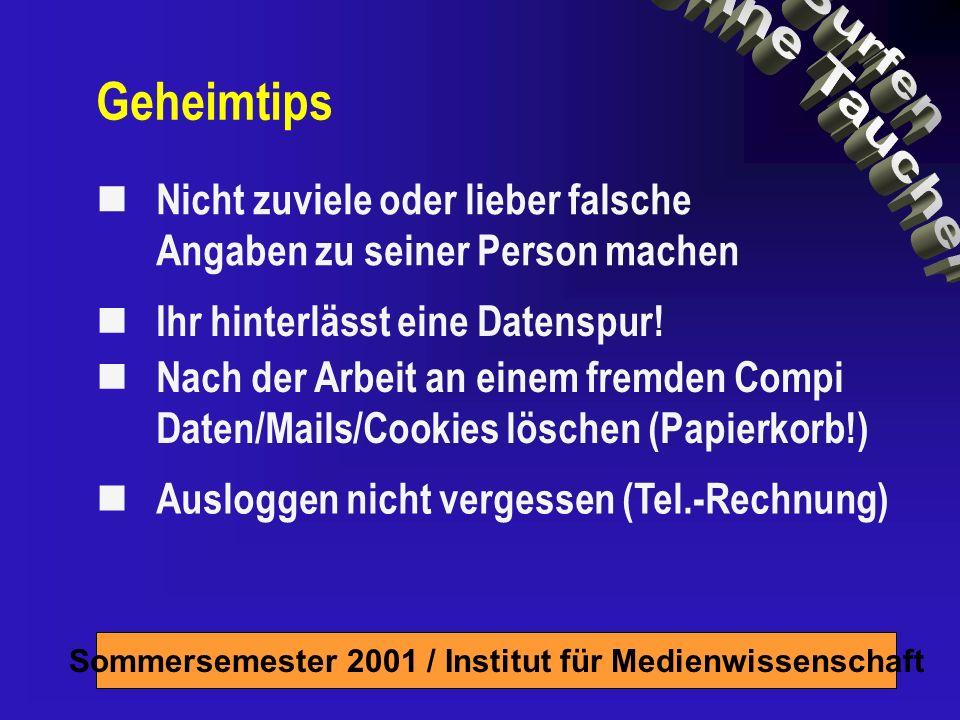 Sommersemester 2001 / Institut für Medienwissenschaft Nicht zuviele oder lieber falsche Angaben zu seiner Person machen Ihr hinterlässt eine Datenspur.