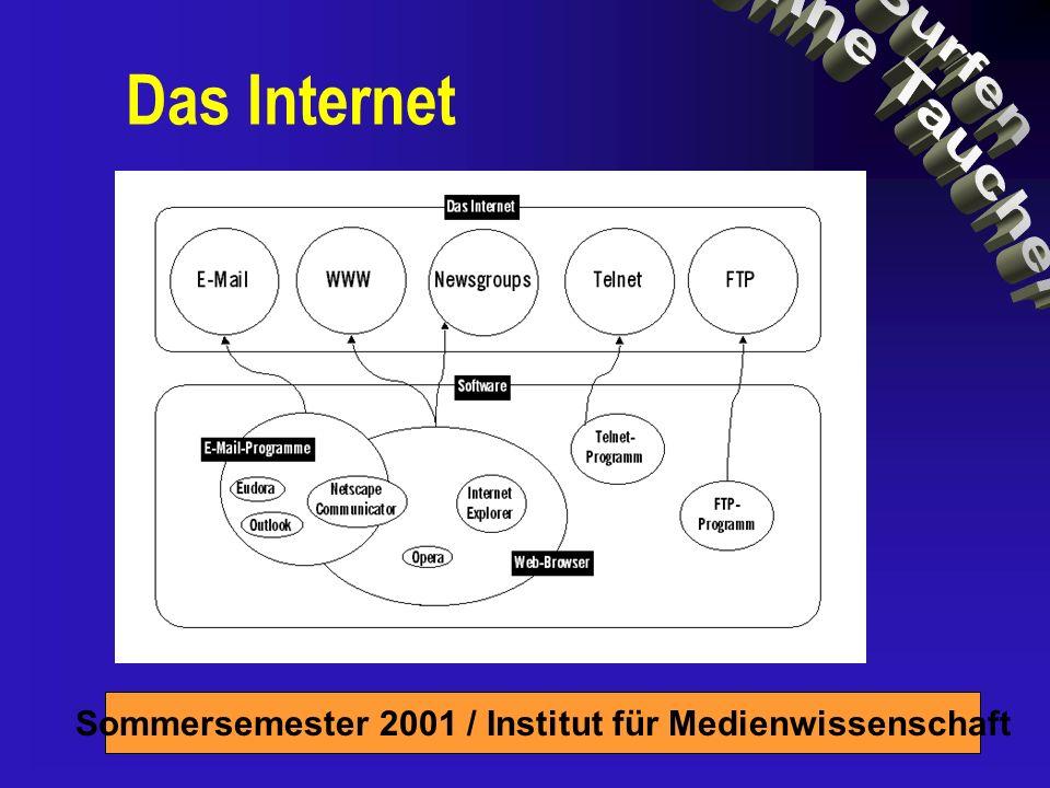 Sommersemester 2001 / Institut für Medienwissenschaft Windows 84-89% Mac 5-14% Andere 2-6% Systeme Windows= Büromaschine (Zubehör!) Mac= Kreativmaschine Unsere Plattform: Windows 9x/Me/2000/NT, Internet Explorer 5 (oder Netscape 4.7)