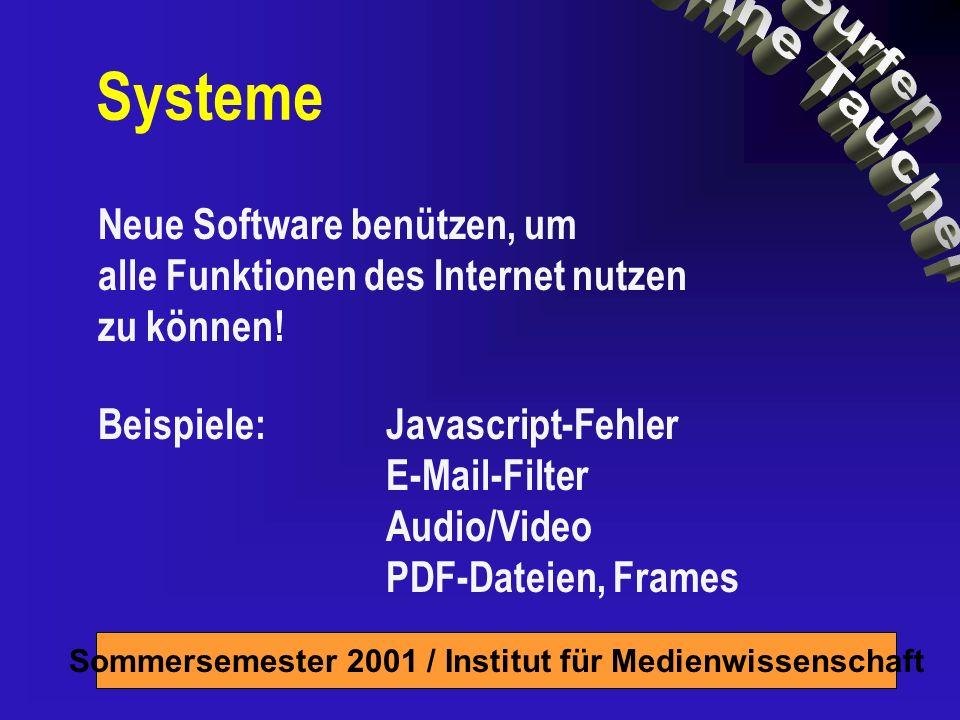 Sommersemester 2001 / Institut für Medienwissenschaft Kleine Internet-Geschichte Netz von Netzwerken Server bieten an, Clients holen TCP/IP = gemeinsame Sprache Ursprung: Kalter Krieg / Militär (Arpanet) Später Abtrennung ziviler Netze 1986: NSF-Net Ab ca.