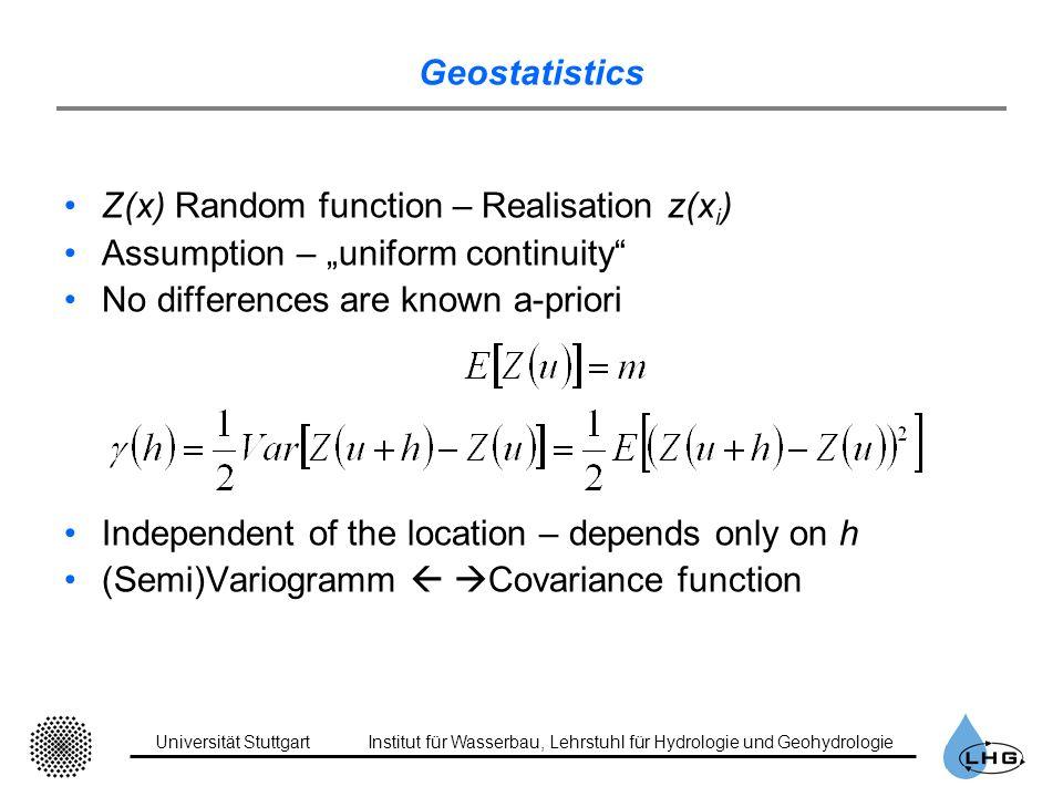 Universität StuttgartInstitut für Wasserbau, Lehrstuhl für Hydrologie und Geohydrologie Geostatistics Z(x) Random function – Realisation z(x i ) Assum