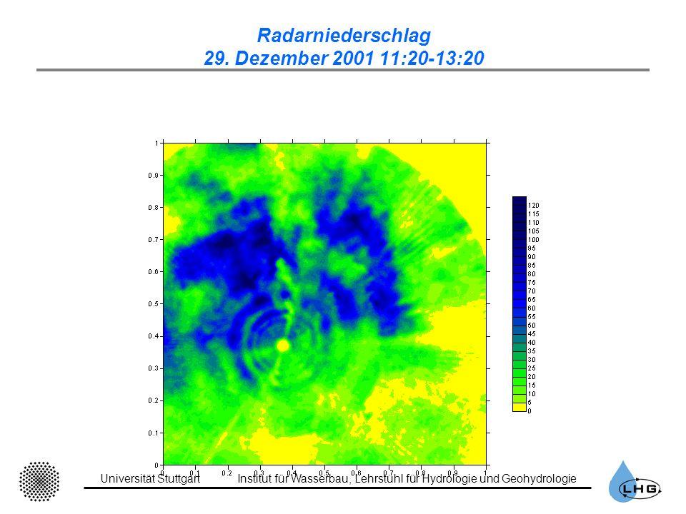 Universität StuttgartInstitut für Wasserbau, Lehrstuhl für Hydrologie und Geohydrologie Radarniederschlag 29. Dezember 2001 11:20-13:20