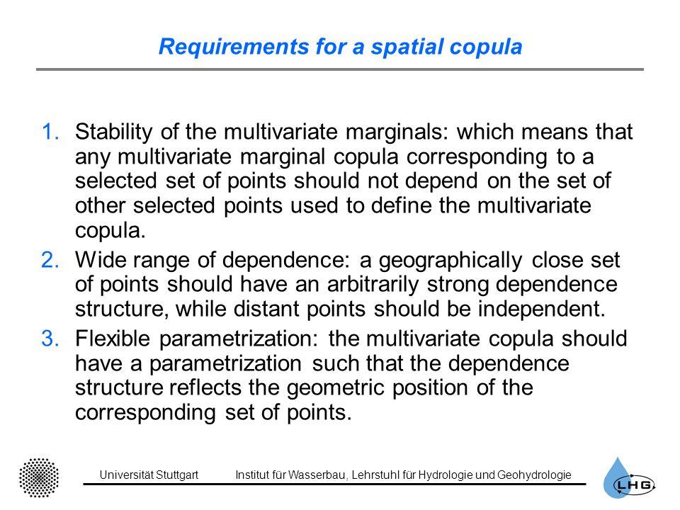Universität StuttgartInstitut für Wasserbau, Lehrstuhl für Hydrologie und Geohydrologie Requirements for a spatial copula 1.Stability of the multivari
