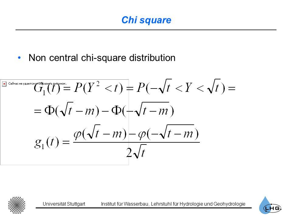 Universität StuttgartInstitut für Wasserbau, Lehrstuhl für Hydrologie und Geohydrologie Chi square Non central chi-square distribution
