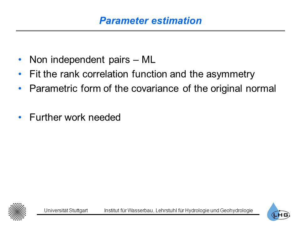 Universität StuttgartInstitut für Wasserbau, Lehrstuhl für Hydrologie und Geohydrologie Parameter estimation Non independent pairs – ML Fit the rank c