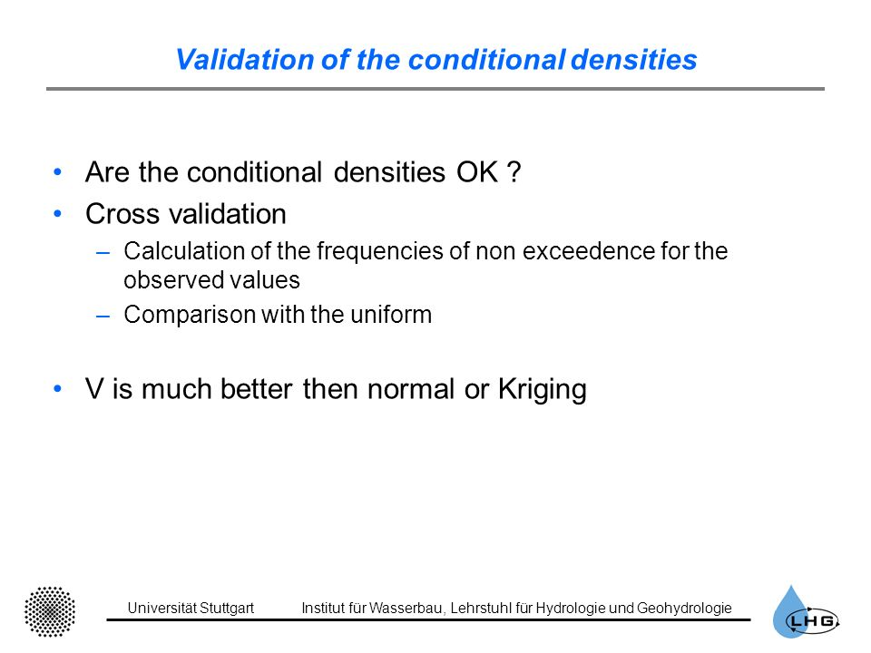 Validation of the conditional densities Are the conditional densities OK ? Cross validation –Calculation of the frequencies of non exceedence for the