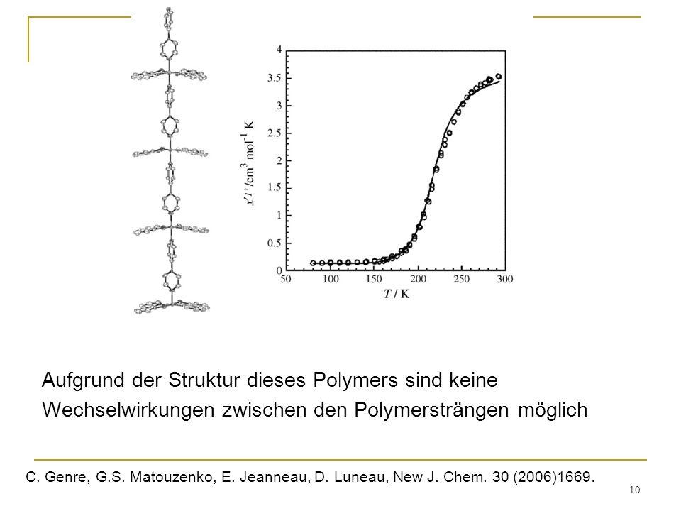 10 Aufgrund der Struktur dieses Polymers sind keine Wechselwirkungen zwischen den Polymersträngen möglich C. Genre, G.S. Matouzenko, E. Jeanneau, D. L