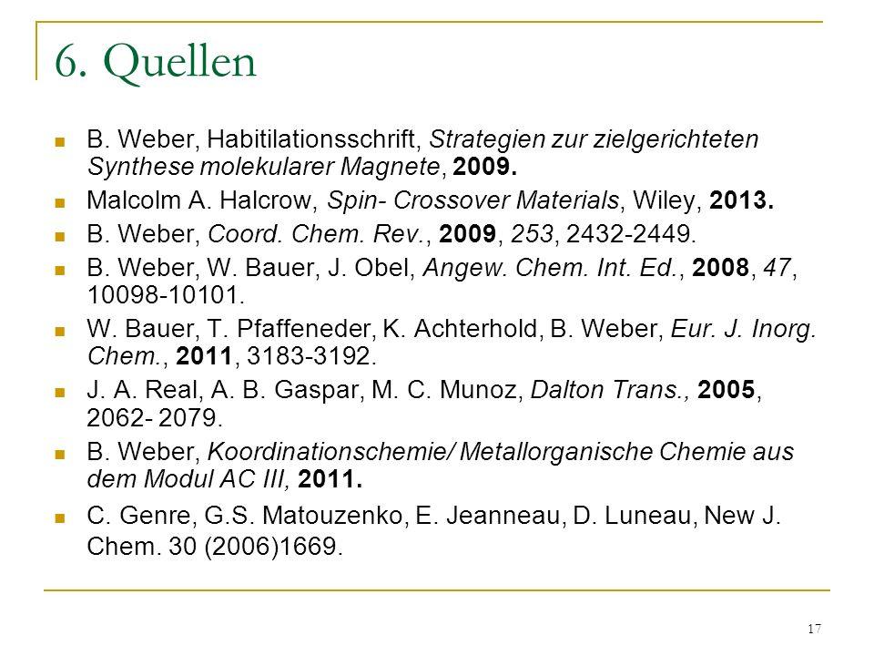 17 6. Quellen B. Weber, Habitilationsschrift, Strategien zur zielgerichteten Synthese molekularer Magnete, 2009. Malcolm A. Halcrow, Spin- Crossover M