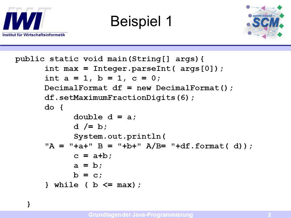 Grundlagen der Java-Programmierung3 JAVA: Exception Handling Ausnahmebehandlung erfolgt in Java durch Exceptions und Errors beide Subtyp von Throwable Exceptions werden abgefangen durch Verwendung der Schlüsselworte try und catch Errors werden nicht abgefangen (führen zu Programmabbruch)