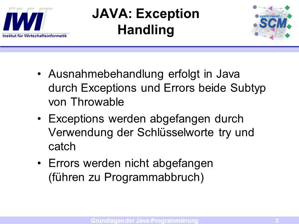 Grundlagen der Java-Programmierung4 Beispiel 2 class ArrayTest { ArrayTest () { int[] test = new int[10]; int i = 0; while (true) { i = i + 1; test[i] = 1; System.out.println(i); } public static void main( String[] args){ ArrayTest at = new ArrayTest(); }