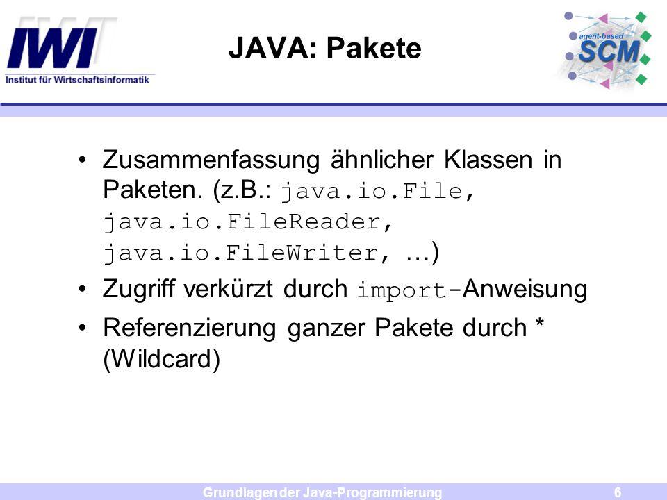 Grundlagen der Java-Programmierung7 JAVA: Pakete Beispiel: import java.io.File; oder import java.io.*; class NewFile { NewFile ( Sting name ) { File nf = new File( name); }